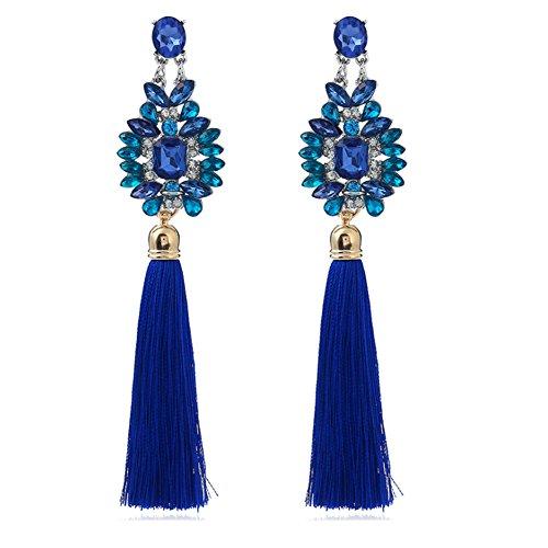 AIUIN 1 paar oorbellen voor dames blauw strass kwast oorbellen zilver knoop-oorbellen (met sieradenzakje)