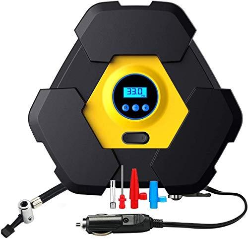ZOUSHUAIDEDIAN Inflador de neumático Digital (12 voltios), Bomba de compresor de Aire compacta y portátil con tecnología de Cierre automático for la Bicicleta de camión de automóviles