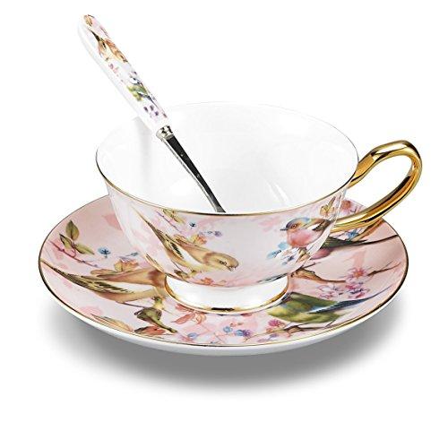 Panbado Tazas de Café de China de Hueso, 200ml, Juego de Café de Porcelana Blanca y Translúcida Tazas de Té para Hogar, Oficina, Restaurante, Regalo para Cumpleaños, Festival - Flores y Pájaros, Rosa