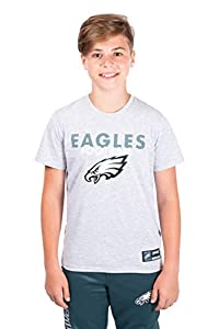 Ultra Game Boys' NFL Active Crew Neck T-Shirt, Philadelphia Eagles, Heather Gray, 14-16