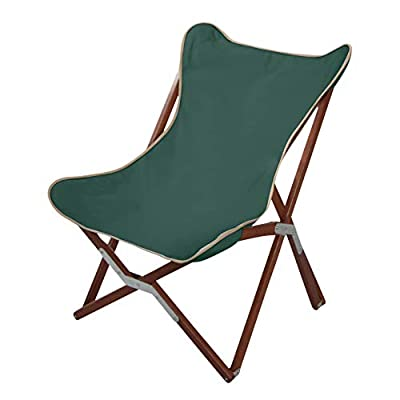 "BYER OF MAINE, Butterfly Chair, Easy to Fold and Carry, Hardwood, Sling Chair, Wood Beach Chair, Perfect for Camping, Matching Furniture in The Pangean Line, 34"" H x 23"" W, 27"" D, Single, Green"