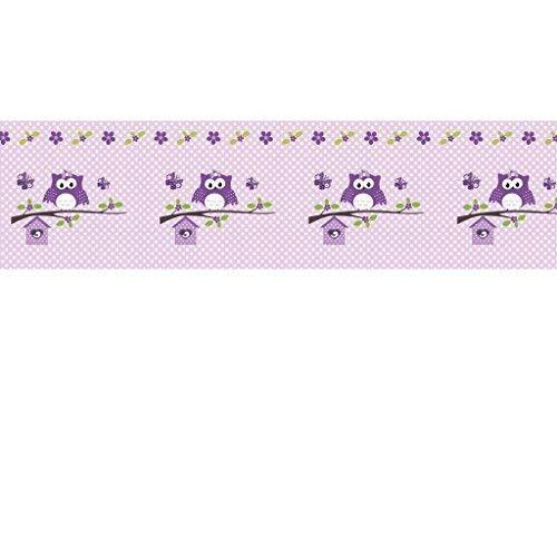 Livingstyle & Wanddesign Vlies Bordüre selbstklebend fürs Kinderzimmer Wandtattoo Happy Eule lila