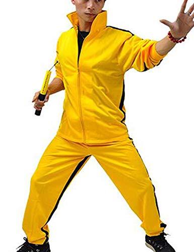 Kenebo Erwachsene Kinder Sportswear Sweatshirt Jeet Kune Do Bruce Lee Chinesischer Kung Fu-Overall oder Sweatshirt + Hose Gelb L