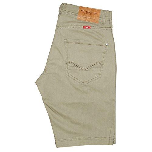 Hero Herren Denim Bermuda Stretch Jeans Hose Short Outdoorjeans (W36, Light Khaki)