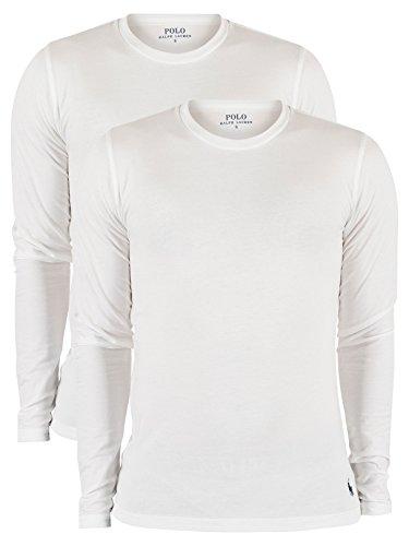 Polo Ralph Lauren de los Hombres Pack de 2 Camisetas de algodón elástico de Manga Larga, Blanco, XL