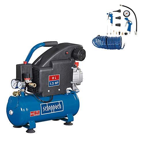 scheppach Kompressor HC08 - 230V 50Hz 1100W - 8L | inkl. 13-teiliges Zubehörset und Spiralschlauch