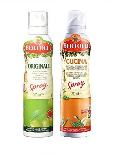 Bertolli Olivenöl Spray Set Olio Di Oliva Cucina 200ml + Olio Di Oliva Extra Vergine Originale 200ml (2 x 200ml)
