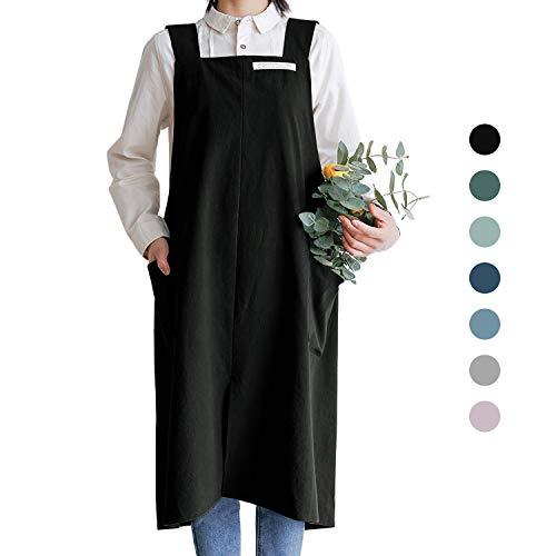 HANEE Delantales de algodón para mujeres y hombres | Delantal de espalda cruzada con bolsillos (7 colores), Negro, Talla única
