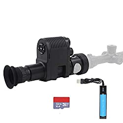 Megaorei 3 Integrated 720p Digital Night Vision Rifle Scope Monocular Add on Hunting Camera DVR Camcorder with Built-in 850nm Infrared IR Flashlight (with 32G TF Card and Battery)