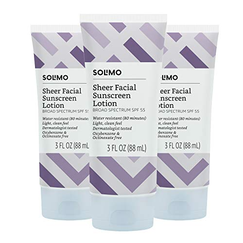 Amazon Brand - Solimo Sheer Face Sunscreen SPF 55 (Pack of 3), Reef Friendly (Octinoxate & Oxybenzone Free), 3.0 Fluid Ounce