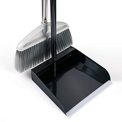 Metal Broom and Dustpan Set Heavy Duty Stainless Steel Dustpan Combo Upright Standing Dust Pan with Long Handle Broom-Best for Home Kitchen Lobby Indoor Outdoor (Black)