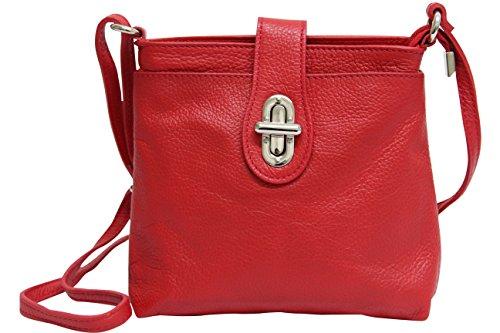 AmbraModa Borsa da donna in vera pelle, borsa a tracolla, borsa a spalla, city bag GL007 (rot)
