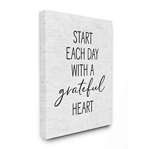 Stupell Industries Start Each Day with a Grateful Heart Neutral Quote, Designed by Lettered and Lined Wall Art, 16 x 20, Canvas