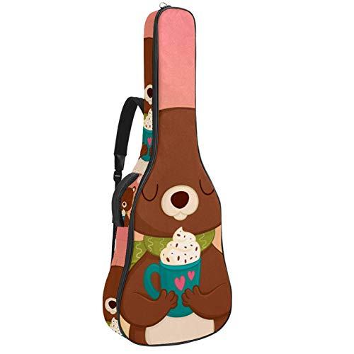 Bennigiry Bonito oso de dibujos animados con crema de hielo Mesa de Trabajo Bolsa de Guitarra Acústica Guitarra Gig Bag Guitarras Estuche de transporte para guitarrista
