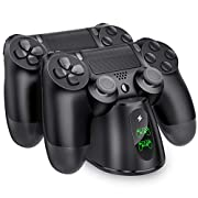 #LightningDeal PS4 Controller Charger, BEBONCOOL PS4 Wireless Charger Dual USB Fast Charging for Playstation 4/PS4/ Pro /PS4 Slim Controller, Charging Station with LED Indicator for DualShock 4, Black
