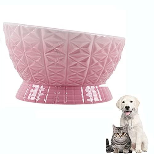 Overhead Ceramic Cat Food Bowl,Anti-Slip Cat Feeding Bowl, Water Bowl,Oblique Bowl,Tilt Angle Protect Cat's Spine,Dishwasher Safe,Pink