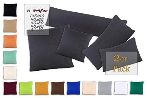 SHC - Kissenbezug 2er-Set für Dekokissen, 100% Baumwolle mit Reißverschluss - 40x60 cm, anthrazit/dunkelgrau