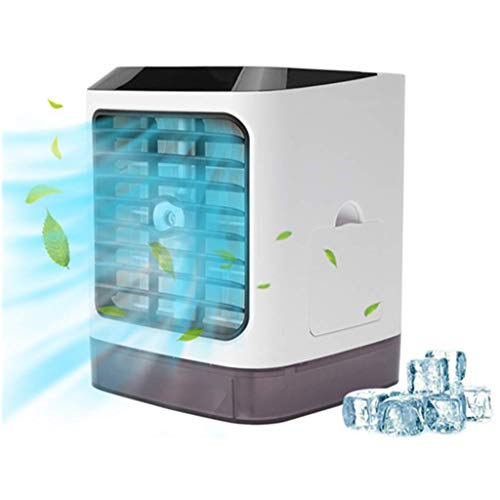 Stickit Graphix Portable Air Conditioner Fan, Rechargeable 3 Speeds Auto 7 Colors LED Light, Mini Humidifier White