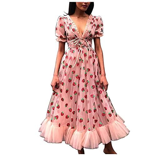 Vestido de fresa para mujer, de malla, plisado, largo, de verano, sexy, cuello en V, dulce vestido swing, cintura alta, manga corta, elegante, vestido de princesa, vestido de fiesta, Rosa., XL