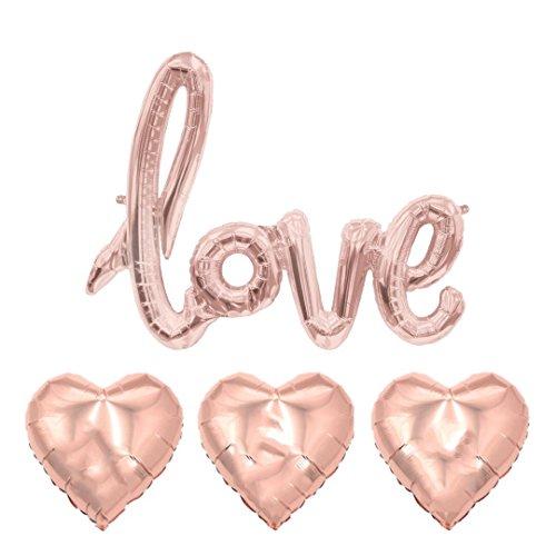ballonfritz® Love-Schriftzug und Herzballon-Set in Rosegold - XXL Folienballon als Hochzeit Deko, Geschenk oder Liebes-Überraschung zum Valentinstag