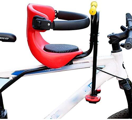 JIBO Tragbarer Kinderfahrradsitz, Kindersitz, Kindersitz mit Armlehnen, Rückenlehne und Pedalen mit Einer Maximalen Belastung von 50 Kg,red