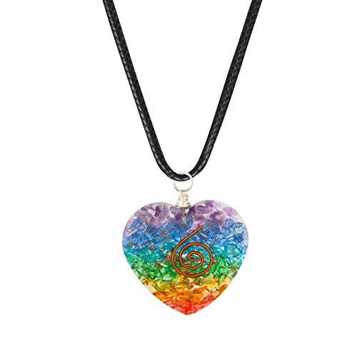 Art of Creation 7 Chakra Heart Shape Pendant Reiki Necklace With Tesla...