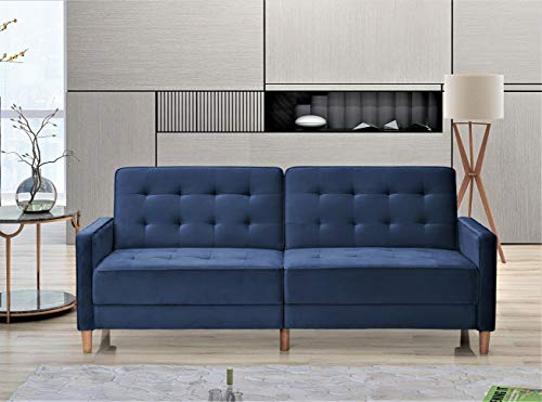 US Pride Furniture Stetson Velvet 80' Square Arms Sofa Bed Sofabed, Deep Blue