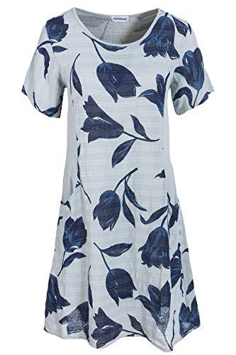 PEKIVESSA Sommerkleid Damen Knielang Blumenmuster A-Linie Grau 40 (Herstellergröße L)