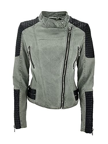 JOPHY & CO. Chaqueta corta de mujer con doble pecho de algodón y piel sintética con bolsillos, cremalleras y cuello Coreana (cód. 6190 & 6226)