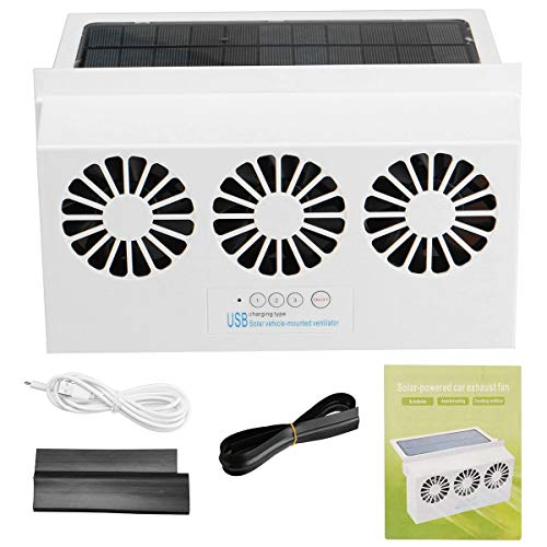 YONGYAO 4500Rpm Solar Coche Extractor 3 Ventiladores Potentes USB/Coche/Solar Carga - Blanco