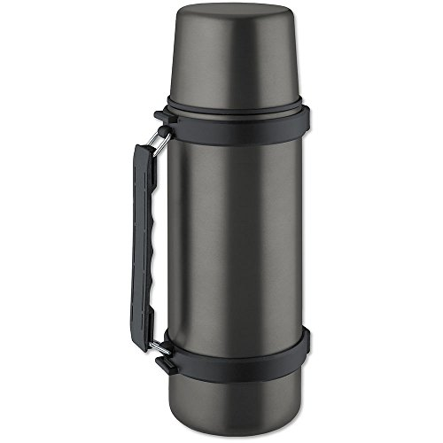 ISOSTEEL Isolierflasche Travel Quickstop, Titan-Grau