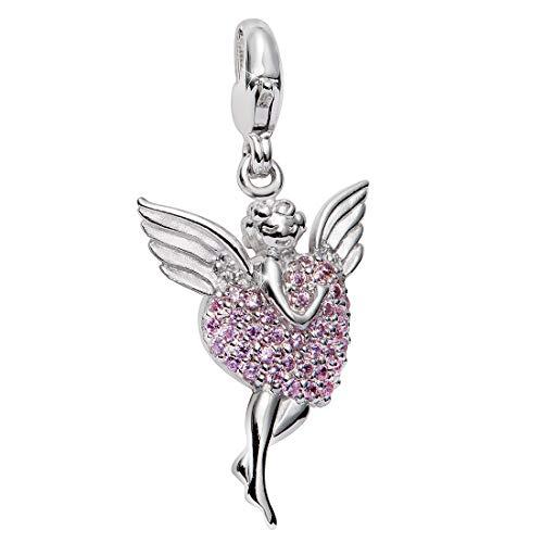MATERIA 925in argento Sterling ciondolo ali d' angelo e zirconi a forma di cuore rosa + Box # C8