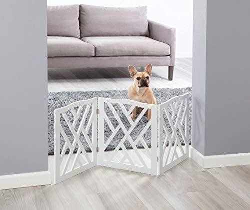 Adjustable 3 Section Indoor/Outdoor Wood Lattice Criss Cross Pet Gate