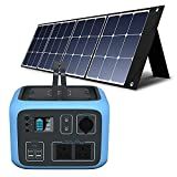 PowerOak BLUETTI AC50S Portable Power Station and 1 Piece of 120W Solar Panel, Solar Generator with 500Wh Lithium Battery 300W Inverter AC/DC/USB Outlets for Travel Camping Campervan
