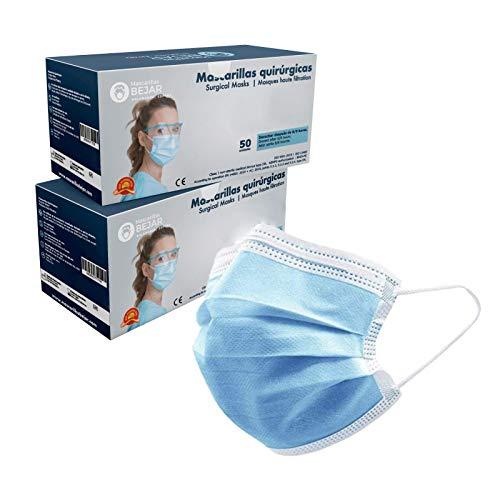Bejar Mascarillas Quirúrgicas tipo IIR. Pack 50 uds. 3 capas, 99'7% de filtración bacteriana. Hechas en España.