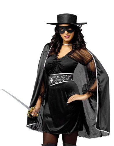 Womens Masked Madam Sexy Zorro Costume sz M/L 10-14