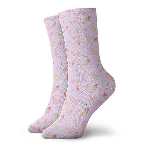 BJAMAJ Unisex Sokken Roze Hoge hakken Patroon Interessant Polyester Crew Sokken Volwassene Sokken Katoen