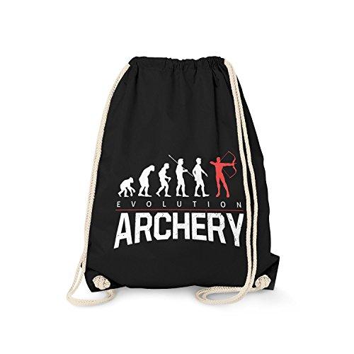 Fashionalarm Turnbeutel - Evolution Archery | Fun Rucksack mit lustigem Motiv Geschenk Idee Archer Bogenschütze Bogenschießen Bogen Sport Verein, Farbe:schwarz