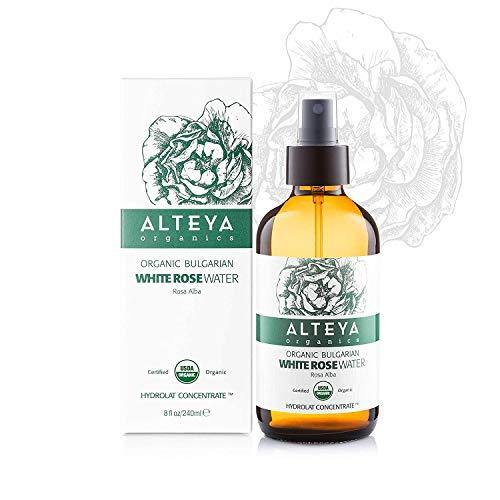 Alteya - Botella de agua de rosa blanca orgánica de 120 ml - 100% USDA certificado orgánico auténtico natural rosa Alba flor agua destilada y vendida directamente por el Rose Grower Alteya Organics