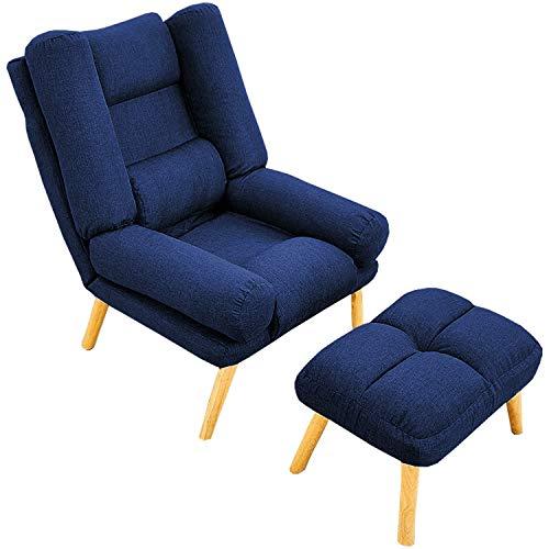 Selly Home Sessel mit Ergonomischer Hocker - Relaxsessel Angenehmes Stoff mit Liegefunktion - Entspannung Ohrensessel mit Hocker - Fernsehsessel mit Fußstütze - Lounge Stressless Sessel – Blau