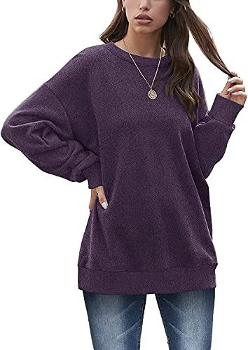 Sudadera de Gran tamaño para Mujer, Cuello Redondo, Suelta, Manga Larga, Camisa de Cintura, Jersey Adecuado para Leggings (Purple,XXL)
