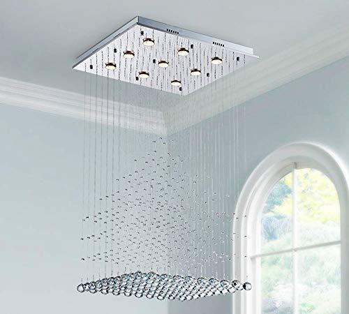 Saint Mossi Modern K9 Crystal Raindrop Chandelier Lighting Flush Mount LED Ceiling Light Fixture Pendant Lamp for Dining Room Bathroom Bedroom Livingroom 9 GU10 Bulbs Required H47' X W24' X L24'