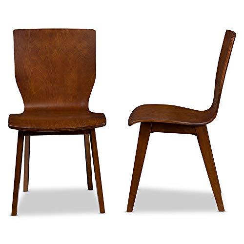 Baxton Studio Set of 2 Elsa Mid-Century Modern Scandinavian Style Bent Wood Dining Side Chairs Dark Walnut