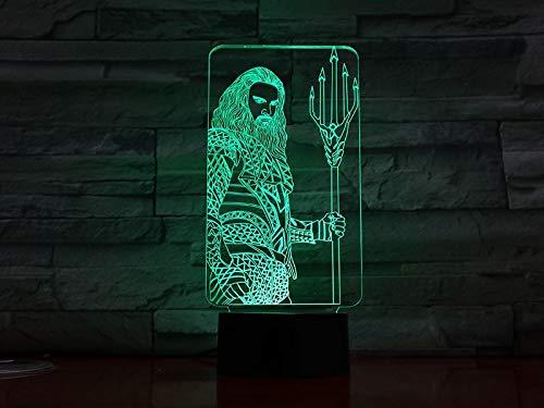 Aquaman Figur Cartoon Superheld Bedside Dc Gerechtigkeit Spielfilm League Night Light 3D LED USB Tischlampe Kinder Geburtstagsgeschenk Nachtzimmer Dekoration