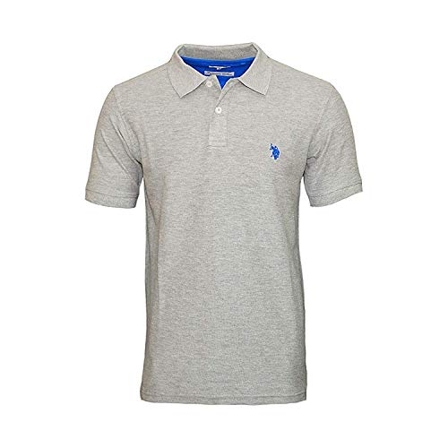 U.S. POLO ASSN. Basic Poloshirt Polohemd Baumwolle Herren Kurzarm 100% Baumwolle (Grau Melange, M)