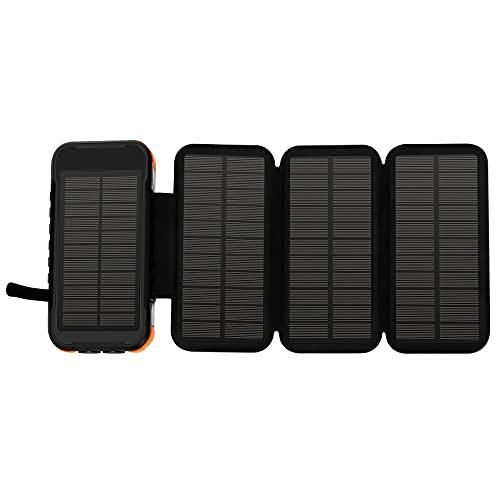 Mungowu Cargador Solar 20000Mah, EnergíA MóVil PortáTil con Puertos USB Dobles Cargador de BateríA Impermeable para TeléFonos Inteligentes y Tabletas