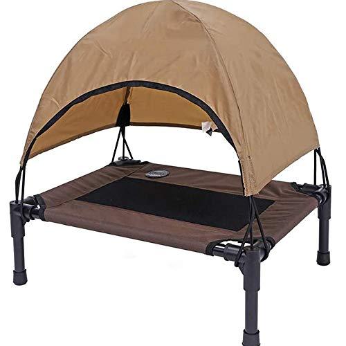 LOVEHOUGE Cama para perro al aire libre Elevada Cuna para mascotas con dosel, cama de campamento para mascotas, tela Oxford duradera, extraíble - marrón
