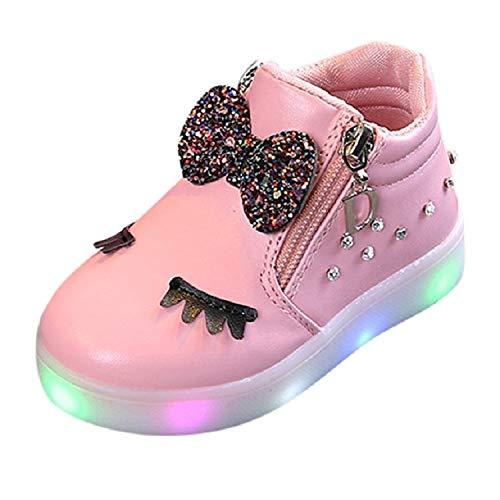 Kinderen Sneeuwlaarzen, Meisjes Winter Laarzen, Warme Sneakers LED Lichtgevende Zachte Bodem Laarzen Sneakers Casual Schoenen, Grootte: 24, Meisjes Chelsea Laarzen
