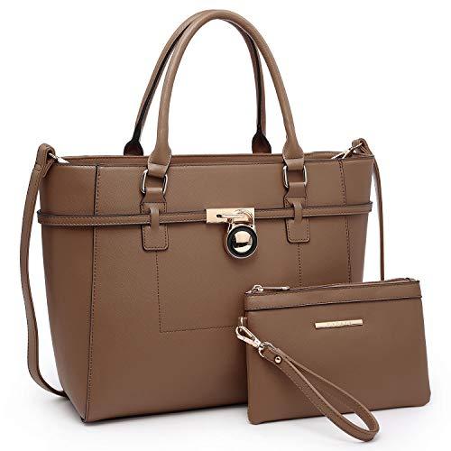 Women's Handbag Large Top Belted Padlock Shoulder Bag Tote Satchel Purse Hobo Bag for Work (Khaki)