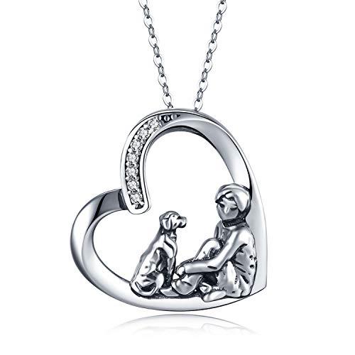 Kette Hund, Halskette mit Hund Hunde Herz Kette Hund und Mensch Anhänger Geschenke Hunde Schmuck für Frauen Kinder Mädchen